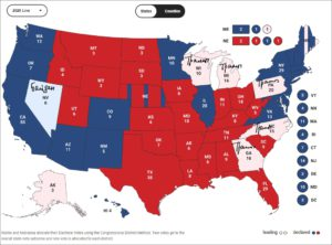 Карта распределения голосов на выборах в США